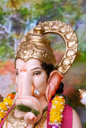 Richly decorated idol of lord Ganesh elephant headed god for Ganpati festival,Pune,Maharashtra,India