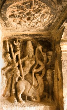 Durga slaying Mahishasura in Ravanaphadi cave temple in Aihole,Karnataka,India