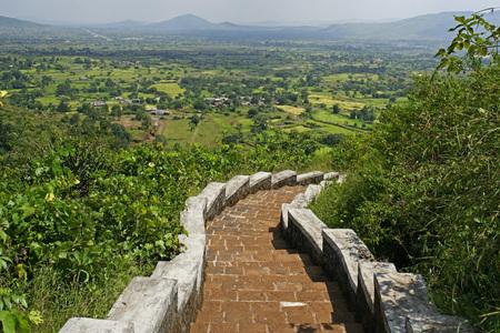 Steps of Bedsa Caves in 2nd century B.C.,Pune,Maharashtra,India Stock Photo