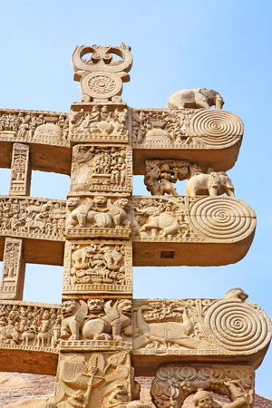 toran: Details of north pillar of eastern gateway  with three pales showing stories of Buddha stupa No 1,Sanchi near Bhopal,Madhya Pradesh,India LANG_EVOIMAGES