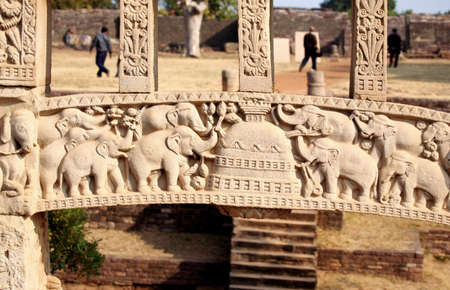 Close-up of east gateway of stupa 1 inner view of south pillar,Sanchi near Bhopal,Madhya Pradesh,India