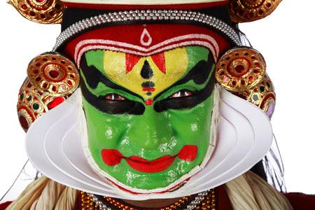 South Indian kathakali dancer performing,Kerala,India Stock Photo