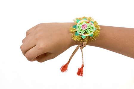 Concept,brother showing rakhi tied on hand on Rakshabandhan festival