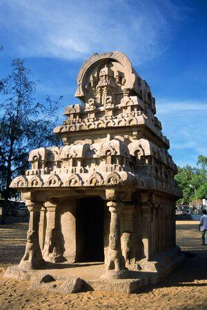 Nakula sakadeva rath one of five raths,Mahabalipuram Mamallapuram,Tamil Nadu,India Stock Photo