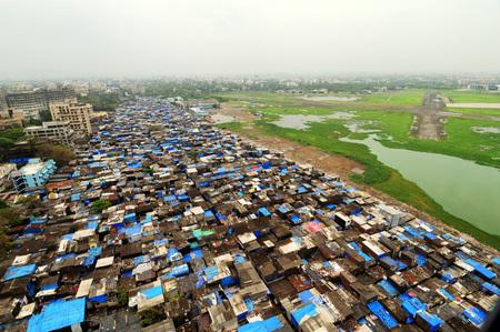 aerial view of slum near Juhu airport,Bombay Mumbai,Maharashtra,India