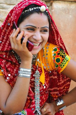 Rajasthani 레이디, 모바일, 라자스탄, 인도 이야기