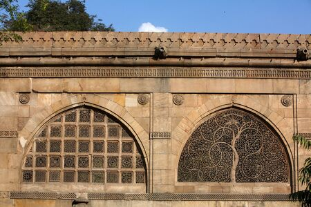 Jali work depicting palm trees with carved tendrils on windows of Sidi Sayed mosque in Ahmedabad,Gujarat,India