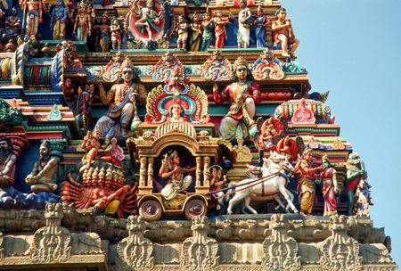 Gods and goddesses figures on kapaleeswarar temple,Mylapore,Madras Chennai,Tamil Nadu,India Stock Photo