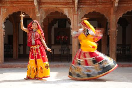 Rajasthani women performing ghoomer dance in haveli,Rajasthan,India