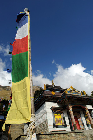 Holy flags at monastery,Upper Pisang,Nepal