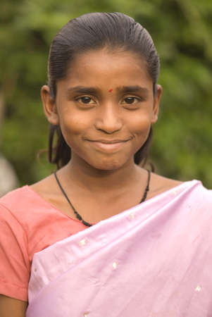 Girl in sari in Salunkwadi,Ambajogai,Maharashtra,India Stock Photo