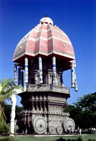 Stone chariot in Valluvar Kottam,Madras Chennai,Tamil Nadu,India Stock Photo