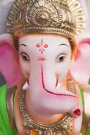 Idol of ganesh elephant headed god for sale in Ganeshotsav,Pune,Maharashtra,India Stock Photo