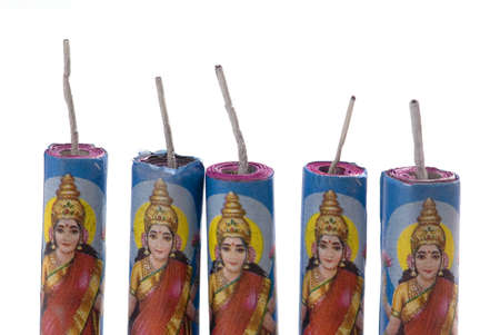 Crackers with picture of goddess lakshmi filled with fireworks called lakshmi tota on white background
