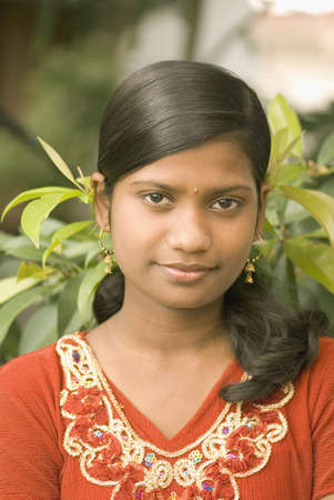 fifteen year old: Fifteen year old girl red top with gold embroidery design,Parli,Vaijanath,Beed,Maharashtra,India