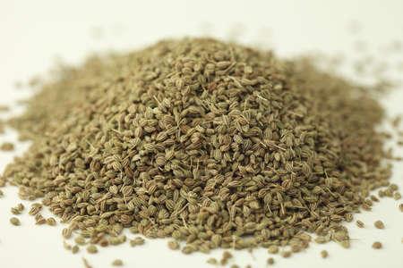 Spices,bishop weed ajowan ajwain trachysrermum ammi carum ajowan carum copticum on white background Stock Photo