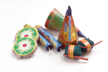 Group of Indian crackers fireworks bhuai nala,flower pot,sutli bomb,lakshmi tota and bhui chakra on white background