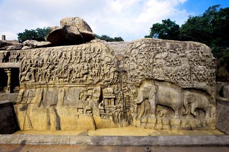 Bas relief arjunas penance,Mahabalipuram Mamallapuram,Tamil Nadu,India
