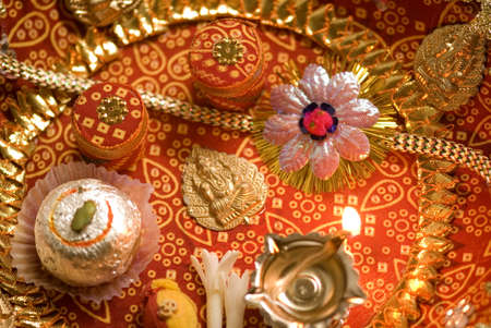 Concept,traditional decorated rakhi thali on Rakshabandhan festival Stock Photo