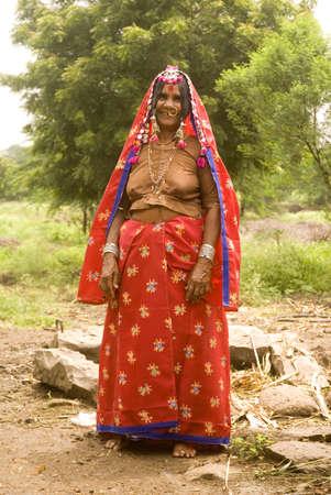 Sixty five year old lamani banjara lady,village Vaitagvadi,Parbhani,Maharashtra,India Stock Photo