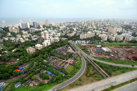 aerial view of bandra reclamation,Bombay Mumbai,Maharashtra,India
