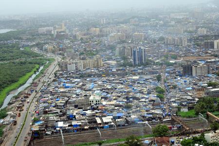 aerial view of dharavi slum,Bombay Mumbai,Maharashtra,India Stock Photo