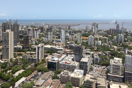 Aerial view of dadar with bandra worli rajiv gandhi sea link,Bombay Mumbai,Maharashtra,India