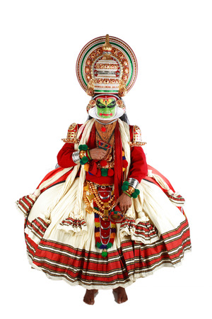 South Indian kathakali dancer performing,Kerala,India Foto de archivo