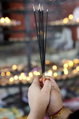 Incense sticks offered by devotees at shiva dole temple,Sivsagar,Assam,India