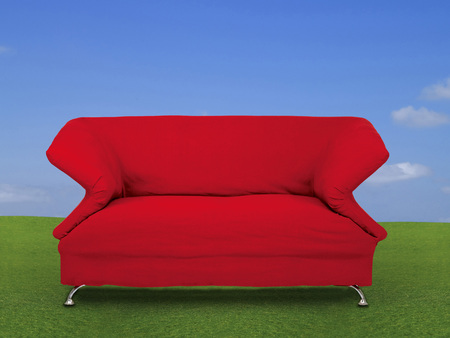 Red sofa on green grass