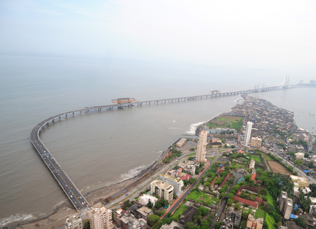 aerial view of bandra worli rajiv gandhi sea link near worli seaface,Bombay Mumbai,Maharashtra,India