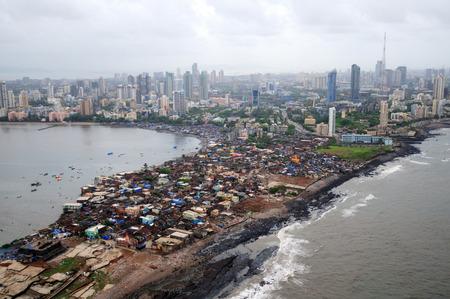 aerial view of worli slum with prabhadevi,Bombay Mumbai,Maharashtra,India