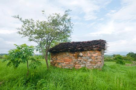 インドの小屋のある風景します。 写真素材