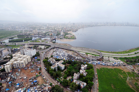 aerial view of bandra mahim creek with bombay mumbai skyline,Maharashtra,India