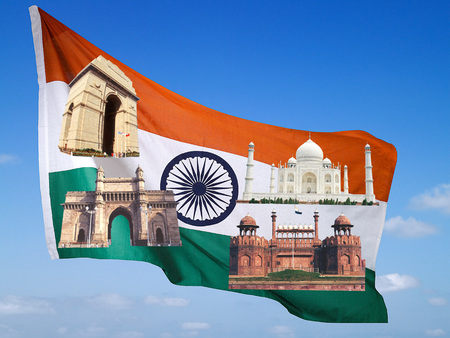 National flag with famous monuments in blue sky