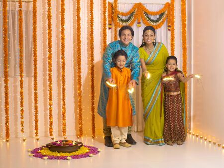 toran: Family celebrates diwali festivals