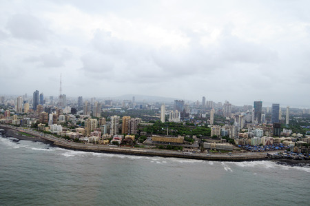 aerial view of worli seaface with lower parel,Bombay Mumbai,Maharashtra,India