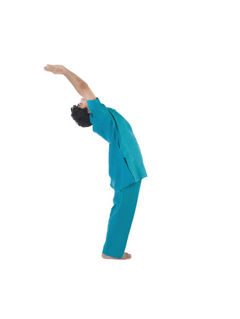 Boy practicing ardhchandr asana
