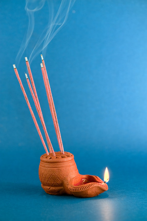 Oil lamp,India Stock Photo