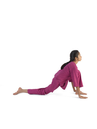 Girl practicing vanar asana
