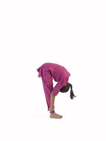 Girl practicing ardhchandr asana Stock Photo