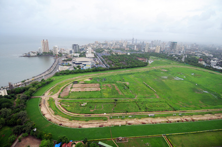 aerial view of mahalaxmi race course with worli,Bombay Mumbai,Maharashtra,India