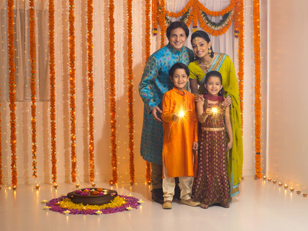 Family celebrates diwali festivals