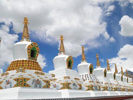 Shanti stupa in leh,Ladakh,Jammu and Kashmir,India Stock Photo