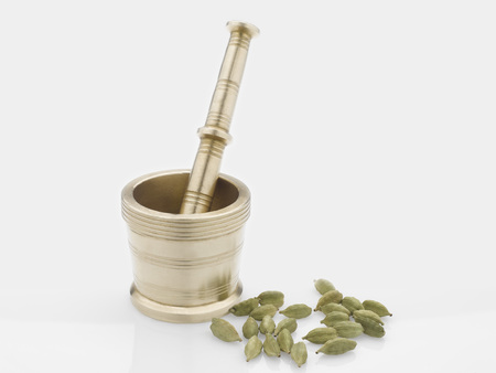 Spices,brass hand grinder or mortar with pestle and cardamom on white background