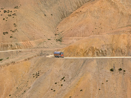 Truck on srinagar leh highway,Ladakh,Jammu and Kashmir,India