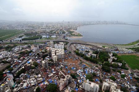 aerial view of bandra mahim creek with bombay mumbai skyline,Maharashtra,India