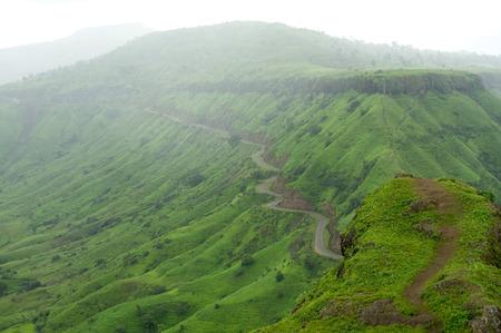 curve road: Mountain road in monsoon at Sajjangadh,district Satara,Maharashtra,India