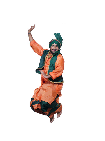 Dancer performing folk dance bhangra