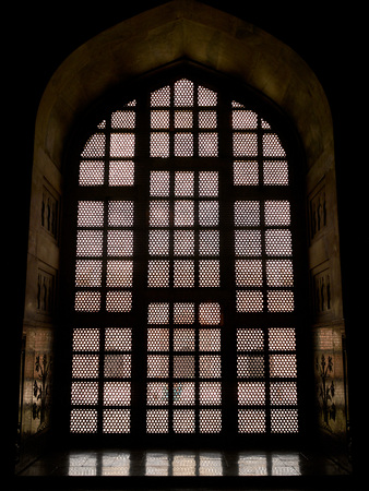 lattice window of taj mahal agra uttar pradesh india stock photo